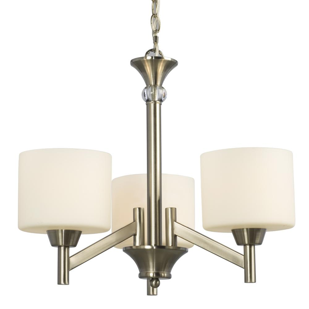 Three Light Chandelier Brushed Nickel with Satin White