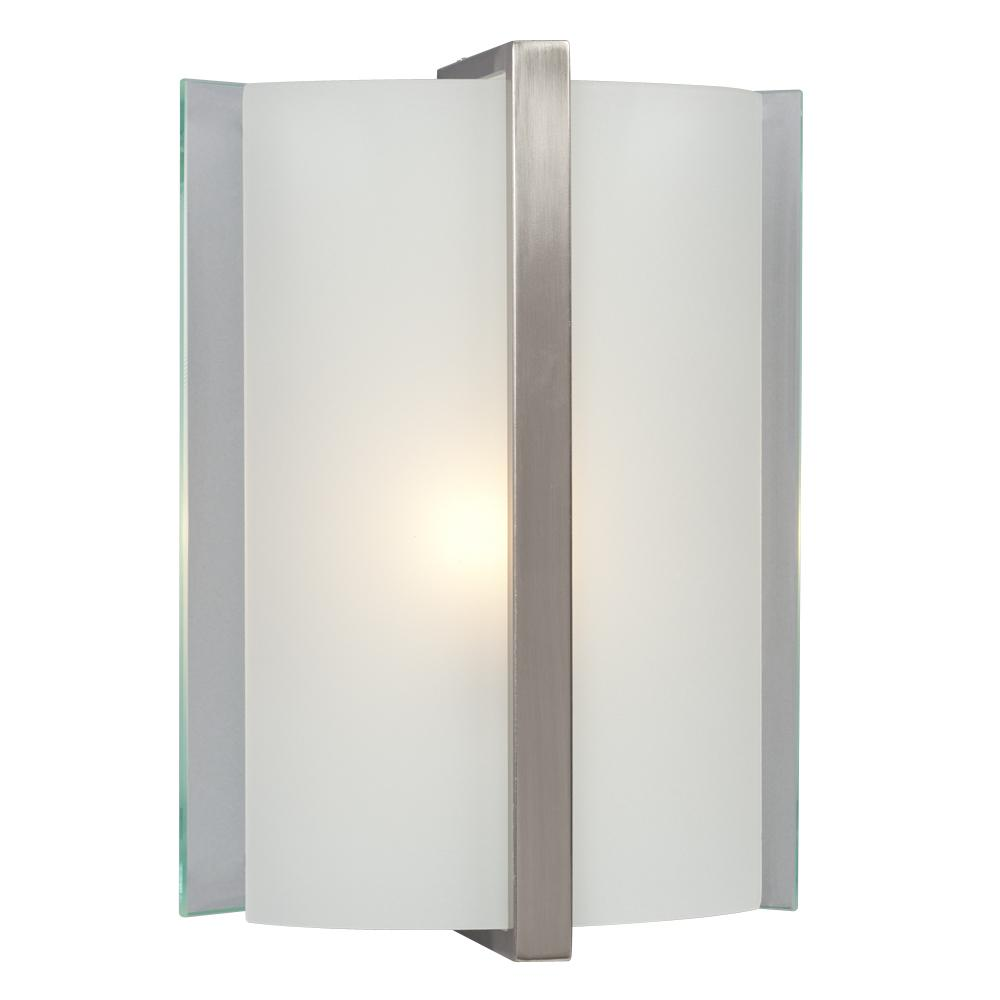 Wall Sconce Frosted Glass : 1-Light Wall Sconce - Brushed Nickel with Clear / Frosted Glass : 215080BN Design Lighting