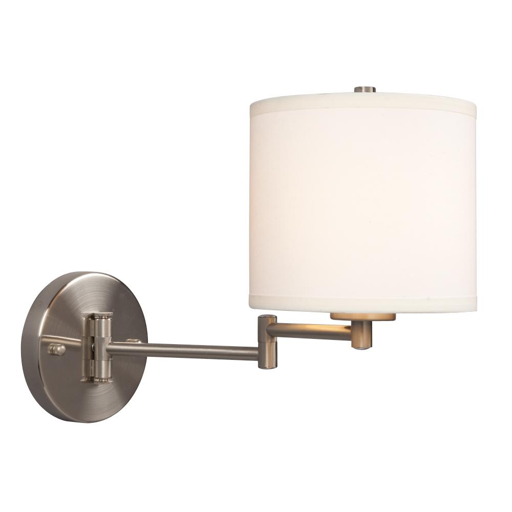 wall sconce w swing arm brushed nickel with linen off