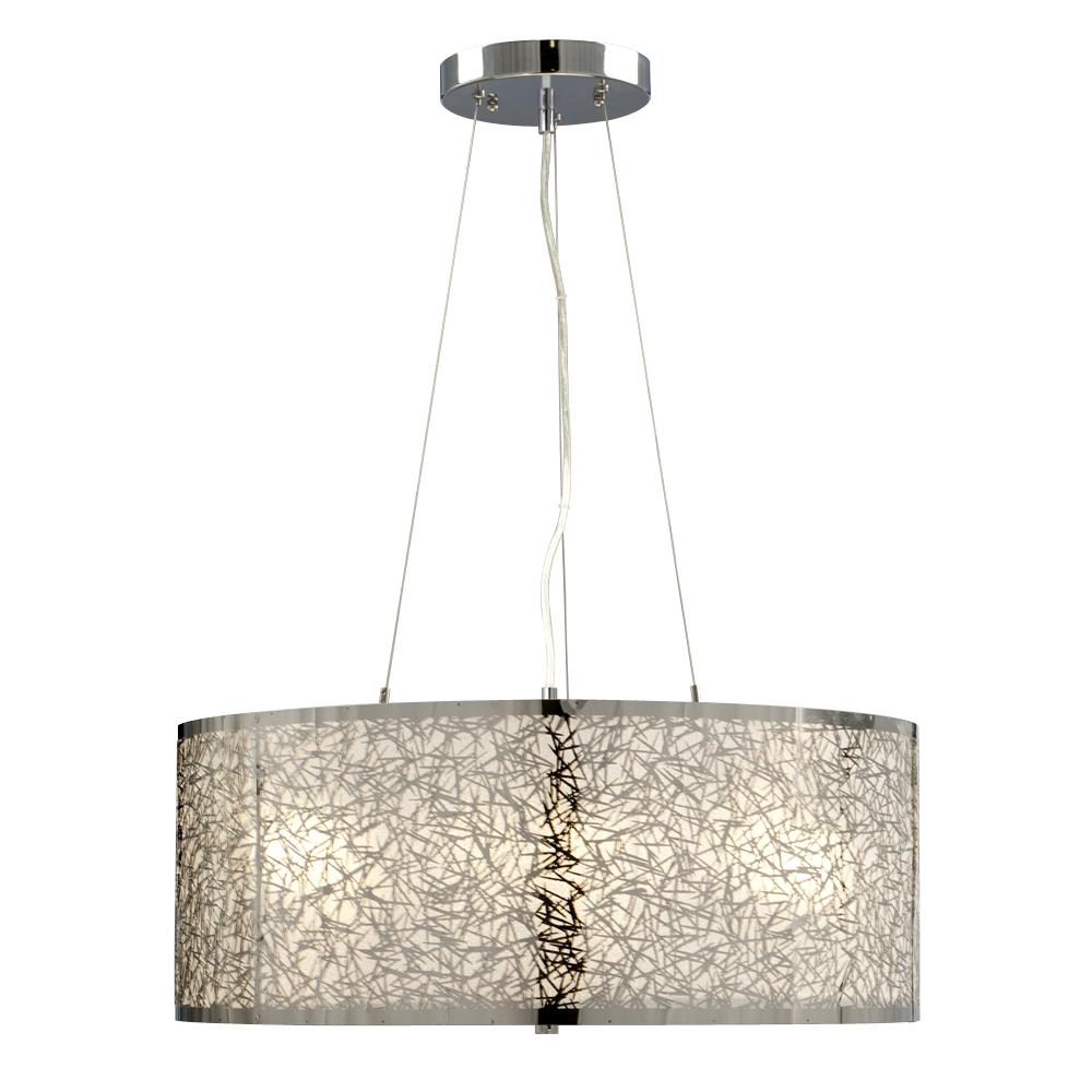 light pendant in polished chrome laser cut metal shade with