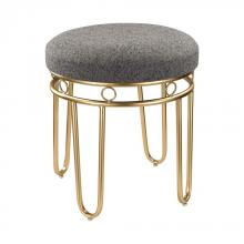 Sterling Industries 3169-017 - Grey Linen Stool with Gold Legs