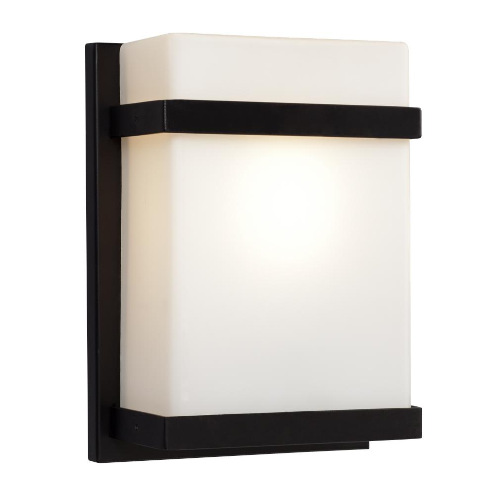 Bathroom Wall Light Sconces : 1-Light Outdoor/Indoor Wall Sconce - Black With Satin White Glass : 215580BK Design Lighting